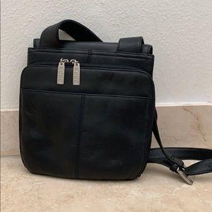 Hobo crossbody travel purse, Black Leather.